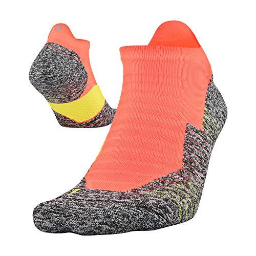 Under Armour Adult Run Cushion No Show Socks With Tab, 1 Pair, Afterburn Orange, Medium