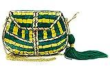 gauri Bolso étnico antiguo indio mosaico piedra embrague cadena desmontable mujeres nupcial matrimonio matrimonio bolsa de metal (Verde con borla)