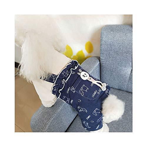 JDXRG Hund Overalls-Pet-Baumwollmantel, Baumwollherstellung/Plissee Spitzen-Design/Große Tasche Cartoon Dekorative Hundewintermantel, Geeignet Für Kleine Und Mittlere Hunde,a,L