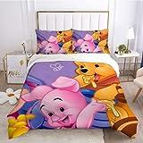 Winnie the Pooh Juego de cama de 3 piezas de fundas de almohada y sábanas, material súper suave
