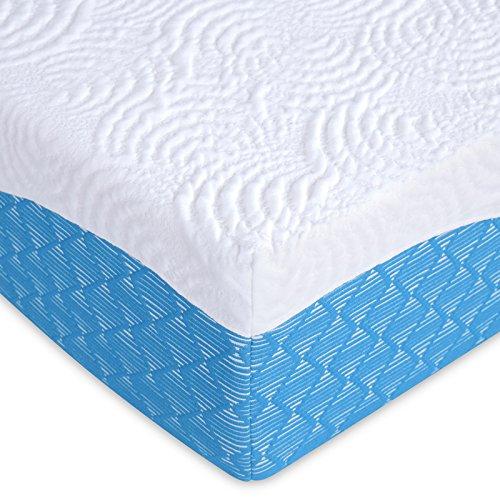 PrimaSleep 12 Inch Multi-Layered I-Gel Infused Memory Foam Mattress | White/Blue | Queen