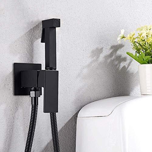 Onyzpily Crea ducha de mano, ducha higiénica, núcleo de latón, ajustable en caliente y frío, juego de bidé de baño, cabezal de ducha, color negro