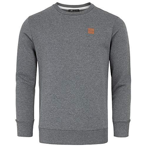 Amaci&Sons Herren Basic College Sweatjacke Pullover Hoodie Sweatshirt 4056 Dunkelgrau XL