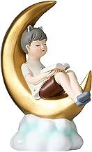 Garneck Lendo um Livro Menino Estátua Figurinhas Enfeites de Resina Menino Da Lua Bolo Topper para Favores Do Festa de Ani...