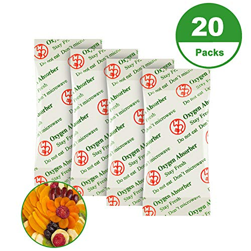 3000CC(20-Pack) Food Grade Oxygen Absorbers Packets for Home Made Jerky and Long Term Food Storage, Stored in Vacuum Bag and 3 times Oxygen Absorption Capacity
