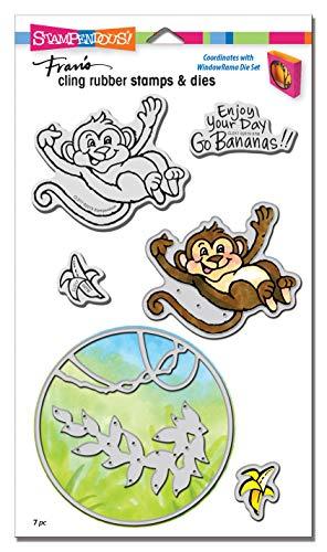 Stampendous Cling Stamp & Die Set-Monkey, Silver