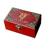 Caja de joyería de madera de la ciudad de las estrellas de La La Land con 18 notas de cuerda de madera tallada antiguamente para Halloween, Navidad, cumpleaños, decoraciones del hogar