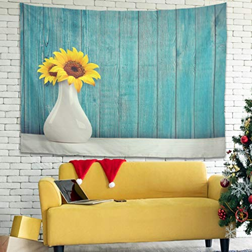 WellWellWell Tapiz de pared con diseño de girasol, multicolor, 200 x 150 cm, color blanco