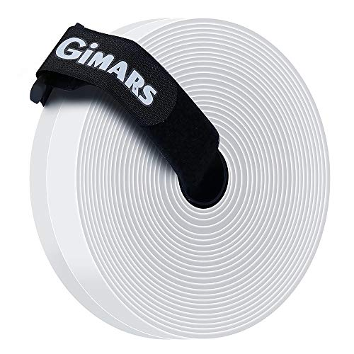 Gimars Velcro adhesivo ancho 20mm * 6M Velcro adhesivo tela doble cara Fijación segura para trabajos manuales y de bricolaje / Equipado con cierre con hebilla para organizar, Blanco