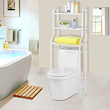 Bathroom Space Saver,3-Tier Iron Toilet Towel Storage Rack Holder Over The Bathroom Toilet Shelf Organizer,22 X 10 X 60 Inch, White