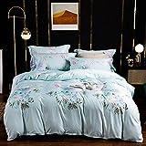 unknow Bettwäsche Aus Gewaschener Seide Doppelbett-Set,leichte Europäische Premium Bettbezüge Mit,Bettwäsche-Sets Doppelblau Mit Kissenbezug