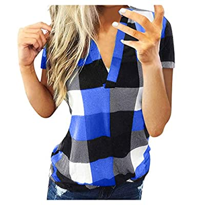 WUAI-Women Casual Short Sleeve Plaid Tunic Shirts Plus Size Henley V Neck Pullover Blouse Flowy Tops