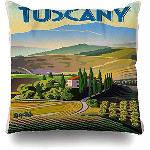 SSHELEY Kissenbezug Grün Italienischer Sommertag Toskana Italien Parks Landschaft Tal Reise Wein Toskanische Landschaft Kissenbezug