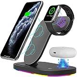 LAHappy 15W Cargador Inalámbrico, 3 en 1 Cargador de Inducción Qi para iPhone 12 Mini/12 Pro Max/11/SE 2020/Xs MAX/XR/X/8 Plus Apple Watch Airpods