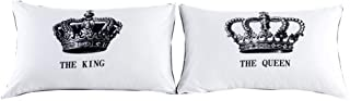 NTBED Couples Pillowcase Pillow Covers Queen King Crown Printed Bed Pillow Cases for Lovers,Valentine's Day,Anniversary Wedding Gifts (3, 19''x29'')