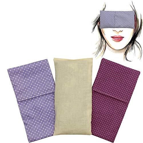 Almohada para los ojos'Pack Duo Topos Lila' (1 relleno y 2 fundas lavables) | Semillas de Lavanda y semillas de arroz | Yoga, Meditación, Relajación, descanso de ojos.
