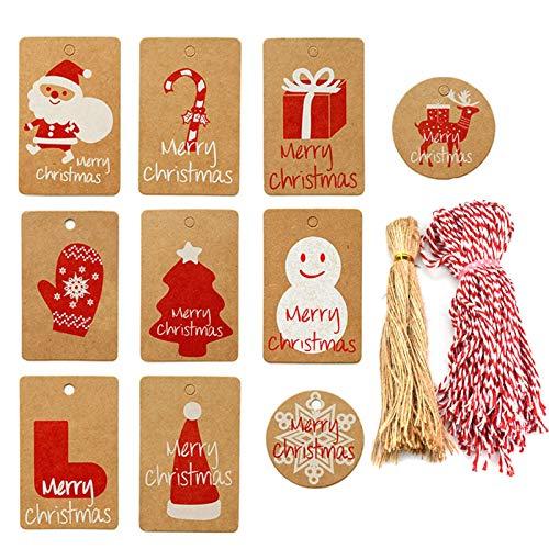 HQdeal 200 Piezas Etiquetas de Regalo de Navidad Etiquetas de Papel Kraft Etiquetas de Nombre de Colgante con Cuerda Juta y...