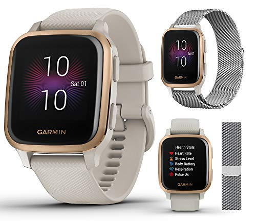 Garmin Venu Sq Music (Light Sand/Rose Gold) GPS Fitness Smartwatch Extra Style Band Bundle   Includes PlayBetter Milanese Metal Watch Band (Silver)   Women's Watch   Heart Rate   010-02426-01