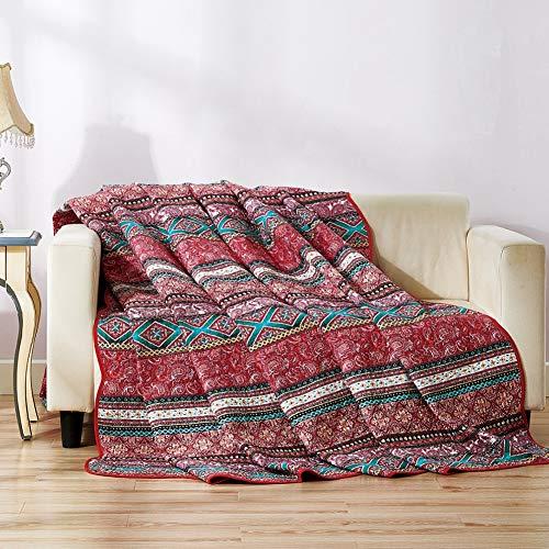 Qucover Tagesdecke Bunt 140x200cm, Boho Tagesdecke Bettüberwurf für Einzelbett, Böhmische Gesteppte Decke aus Baumwolle, Sommerdecke 150 x 200 cm