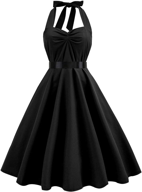 Womens Short Sleeve Dress Womens Vintage Polka Dots Dress Retro Cocktail Sleveeless Dresses (color   Black, Size   S)