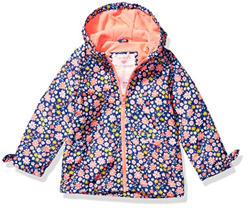 Carter's Girls' Toddler Midweight Fleece-Lined Jacket, Floral On Blue, 4T