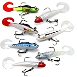 Fishing Lures for bass, Freshwater and Saltwater, pre-Rigged Soft Fishing Lures for Trout with Ultra Sharp Hooks and Soft Paddle Tail for Real Effect, Fishing Gear (Pack of 7)