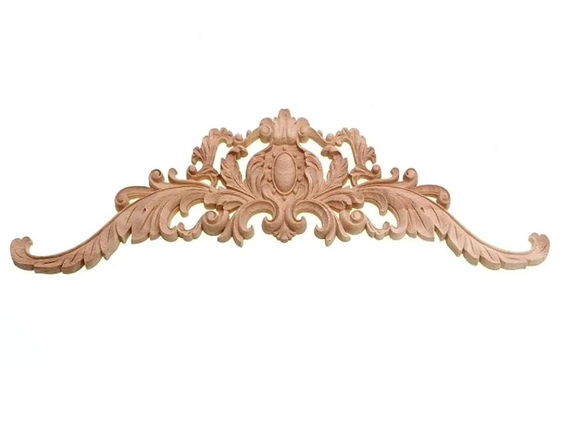 パール食べる考慮紋章デザイン 木製家具装飾 (横30cm×縦8cm) 彫刻 モールディング レリーフ 木彫り 家具飾り DIY