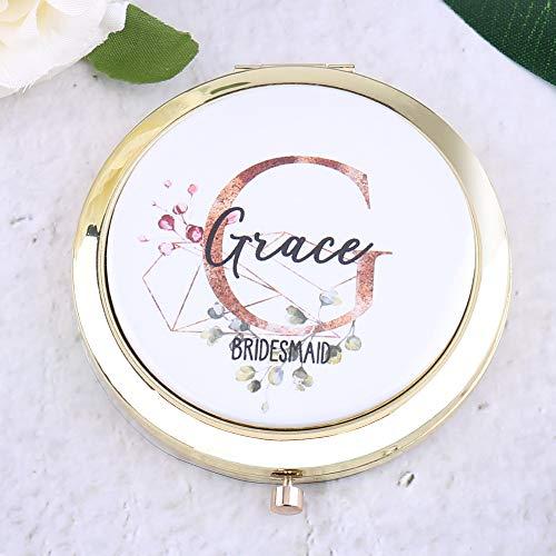 Personalisierbarer Taschenspiegel für Make-up-Geldbörse mit Initialen, Titel, Brautjungfer,...