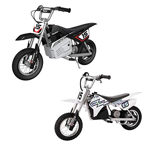 Razor MX400 Dirt Rocket Ride On 24V Electric Toy Motocross Motorcycle Dirt Bike, Speeds up to 14 MPH, 1 Black & 1 White