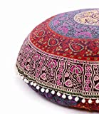 Popular Handicrafts Large Hippie Mandala Floor Pillow Cover - Cushion Cover - Pouf Cover Round Bohemian Yoga Decor Floor Cushion Case- 32' Multi