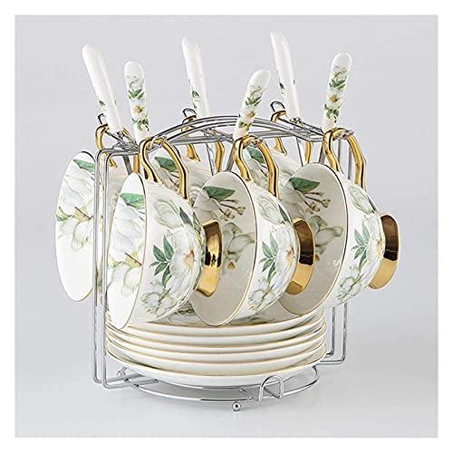 Renovation House Coffee Camellia Bone Coffee Set British Porcelain Tea Set Ceramic Teatime Tea Coffee Cup Mug (Size 6 Cups Set) (Size 1 cup set)