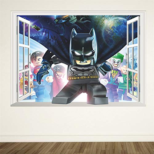 Comic-Batman-Wandaufkleber, für Kinder, Schlafzimmer, Heim-Dekoration, 3D-Effekt, gebrochene Fenster, Wandaufkleber, Geburtstagsgeschenk, Wandplakat