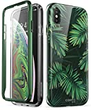 i-Blason Cosmo Series Designed for iPhone Xs Max Case 2018 Release, Full-Body Bumper Case with Built-in Screen Protector, Green Leaves, 6.5', 843439106420