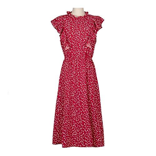 TSP Vestido de verano con estampado de lunares para mujer, casual, manga mariposa, volantes, mediano, largo (color: rojo, tamaño: L)