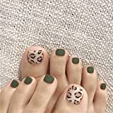 press on toenails - Sakytal Leopard print False Toenails Green Full Cover Artificial Toenails Matte Fake Toenails Press on Toenails Artificial Toenails Accessories for Women and Girls(24Pcs) (Green)
