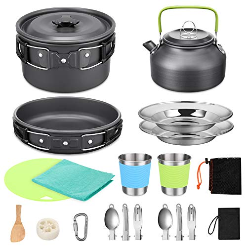 G4Free Camping Cookware Pan Kettle Hiking Outdoor Cooking Picnic Cutlery Spoon Fork Carabiner with Two Stainless Steel Cups Dishes Portable Non Stick Pot with Mesh Kit bag