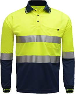 High Visibility Long Sleeve Shirt,Two Tone Yellow Navy Safety Polo Shirt with Reflective Stripes Hi Vis Construction Workwear (L, Yellow&Navy)