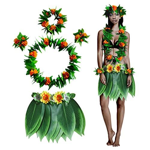YIPUTONG Hawaii Disfraces Set 5pcs Hula Skirt Set de Disfraces Hawaianos con Collar de Guirnalda de Flores, Diademas y Pulseras para Suministros de Fiesta de Playa Luau