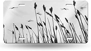 dsdsgog Product Express Dragonfly,Wheat Field Autumn Agriculture Background Nature Harvest Bush Herbs Theme Art,Black White 12x6 inches,SUV Plates Metal