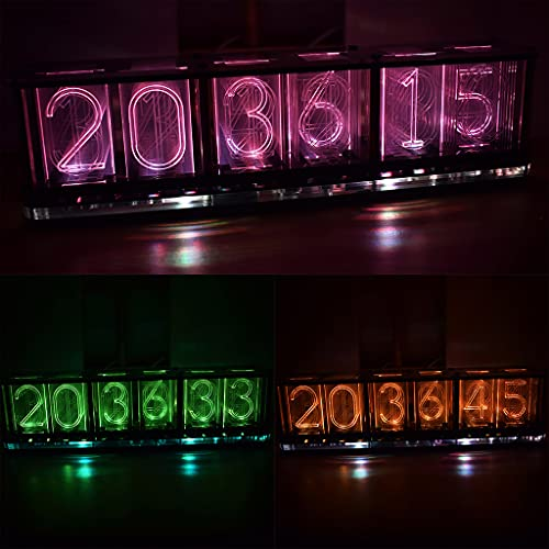 Mcbbigxw Upgrade Version Nixie Tube Clock Digitaluhr Farbig Einstellbare LED Glow Tube Clock 6-Stelliges Kit