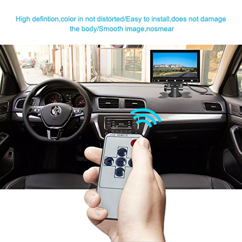7 Inch TFT LCD Car Monitor 2 Video Input Vehicle Backup Display Car Rear View Monitor for Car Parking,Car DVD,VCR,Car Backup System,Home Security,with Remote Control by Cnhopestar