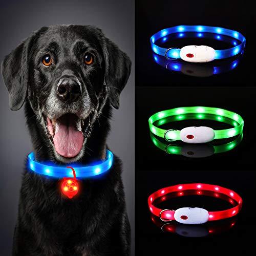 Oladwolf Leuchthalsband Hund Aufladbar, LED Hundehalsband Leuchtend wasserdicht Längenverstellbar USB, Haustier Sicherheit Kragen für Hunde und Katzen - 3 Leuchtmodi Blau