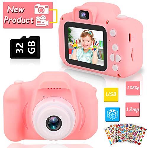 HOWAF Kinder Kamera, Digitale Kamera Selfie-Kamera Kind Camcorder Spiel Multifunktion, 2.0 Zoll Bildschirm, 1080P HD, mit 32GB SD Karte, Spielzeug Geschenk für 4-10 Jahre alte Jungen und Mädchen