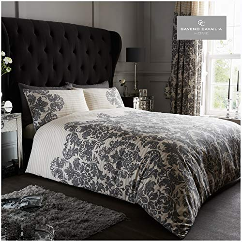 Gaveno Cavailia Luxurious Empire Damask Bed Set with Duvet Cover and Pillow Cases, Polyester-Cotton, Cream, King
