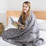 jaymag Gewichtsdecke 9 kg Therapiedecke für Erwachsene Weighted Blanket 100% Baumwolle 152 x 203 cm, Beschwerte Decke für besseren Schlaf, Schwere Decke für Stressabbau und Angstzustände, Grau