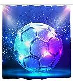 Mimihome Fußball Duschvorhang, Sport Soccer wasserdichte Badevorhänge, 183 x 183 cm, Blau Weiß