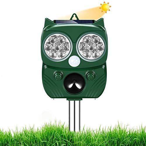 Repelente Gatos, Ahuyentador de pajaros, Solar Ultrasónico Ahuyentador Pare Animales, Gatos, Ratas, Perros, Aves, Zorros y Otros, Outdoor Repeller para Los Animales con LED Que Destella