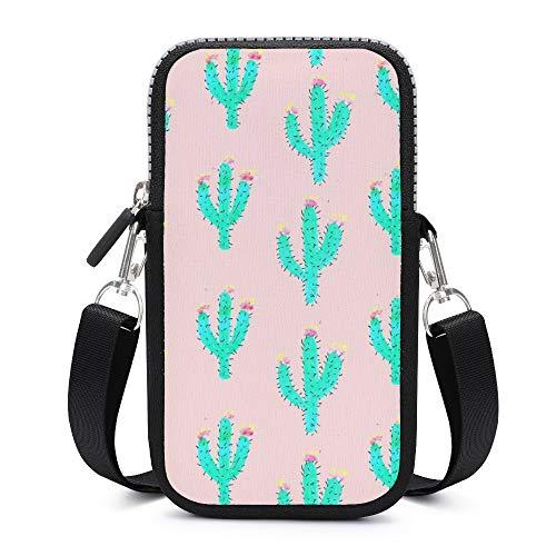 Handytasche / Umhängetasche mit abnehmbarem Schultergurt, Kaktus-Pink