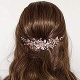 Simsly Diadema para novia de boda, diseño de flores, accesorio para el pelo para mujeres y niñas (oro rosa)