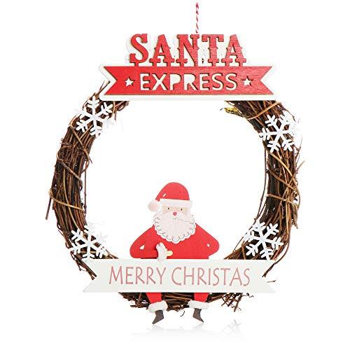 com-four® Corona di Natale Intrecciata - Corona di Porte Santa Express per Natale - Decorazioni...